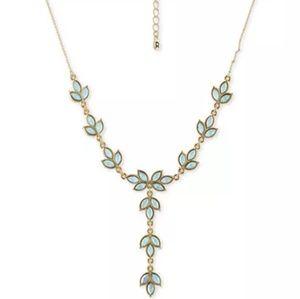 Rachel Roy Gold Tone Necklace Leafy Light Blue